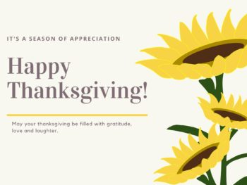 Happy Thanksgiving sunflower and text